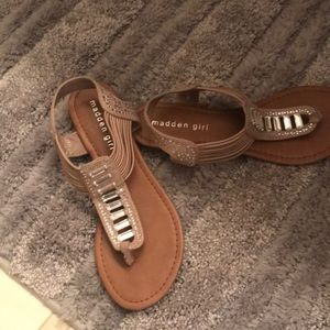 Madden Girl light tan bling sandals